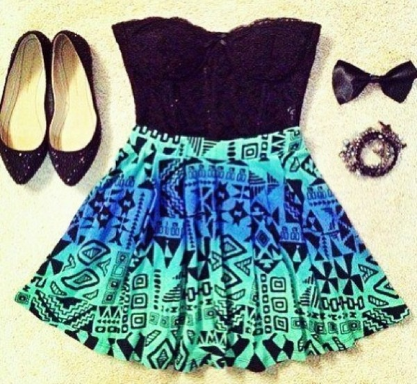 skirt torquose aztec print skirt dress aztec skirts tribal print skirt aztec black dress ombre dress blue dress green dress bluegreen