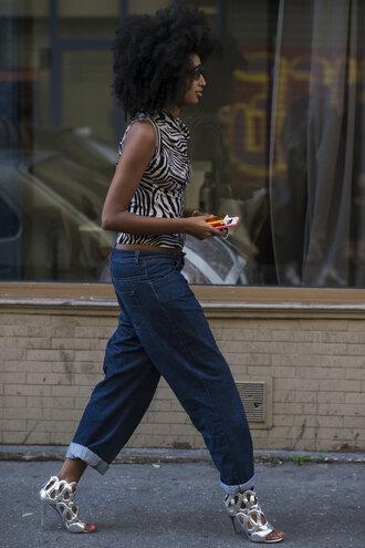shoes top sandals silver denim jeans oversized boyfriend jeans