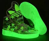 shoes,adidas,adidas shoes,sneakers,green,glow in the dark,alternative,stars,clear shoes,clear,transparent,transparent shoes