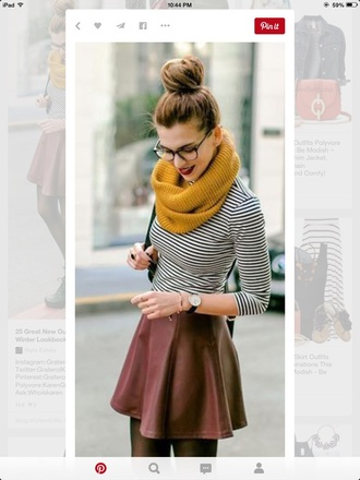 shirt scarf jumper cute stripes skirt fall sweater autumn/winter fashion preppy cute top dress tumblr outfit pinterest glasses fall outfits