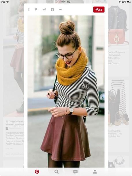 shirt, scarf, jumper, cute, stripes, skirt, fall sweater ...