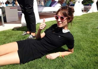 dress black alexa chung vintage retro sunglasses