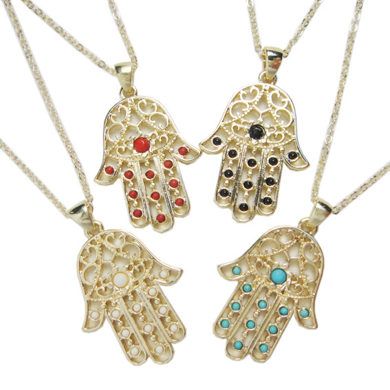 Minimum order $5 (Can Mix Item) free shipping Hand of Fatima hamsa hand Beads Pendant Short Necklaces Wholesale-inPendant Necklaces from Jewelry on Aliexpress.com