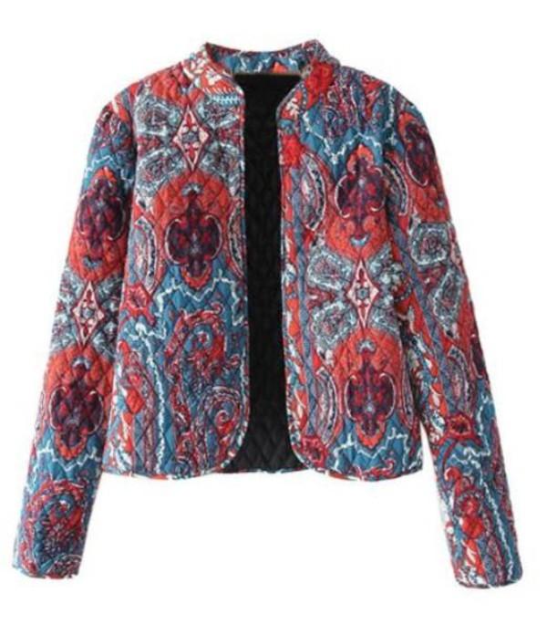jacket quilted multi color jacket cropped jacket lined jacket vintage pattern www.ustrendy.com