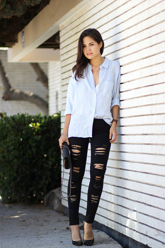fake leather jeans bag shoes jewels shirt