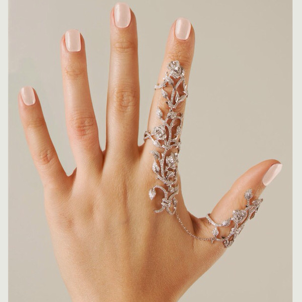 jewels floral flower ring ring crystal reed finger rings full finger fing silver ring blouse jewelry bling linked ring knuckle ring silver jewelry accessories Accessory