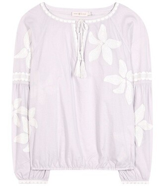 blouse embroidered cotton purple top