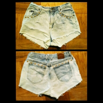 fashion shorts denim high waisted shorts studs custom denim vintage levis spring trends 2014