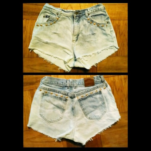 shorts High waisted shorts denim studs custom denim vintage levis fashion