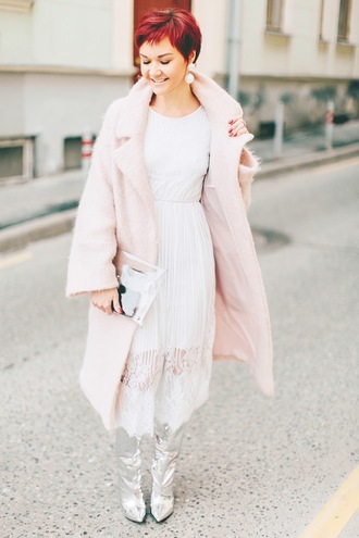 dress tumblr coat pikn coat silver boots pointed toe midi dress white dress white lace dress lace dress boots silver metallic metallic shoes earrings accessories clear clutch clear clutch