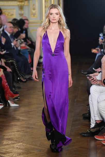 dress lily donaldson runway purple dress purple slip dress plunge dress slit dress paris. Black Bedroom Furniture Sets. Home Design Ideas