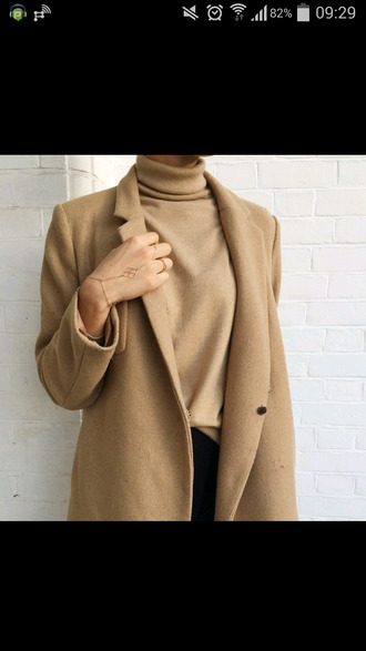 coat jacket camel coat jewels beige brown hand chain hand jewelry jewelry gold jacke turtleneck beige top camel sweater polo neck sweater fall coat nude brown tan
