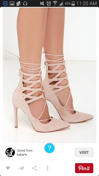 shoes biege strappy heels high heel sandals high heel pumps blush pink stilettos nude black heels lace up laces cute