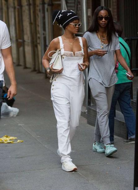 overalls rihanna sneakers underwear bra lace bra streetstyle fashion week hat