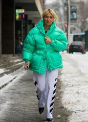 jacket,tumblr,oversized jacket,oversized,green jacket,puffer jacket,pants,white pants,side stripe pants,boots,black boots,pointed boots