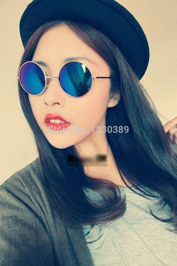 ac10b185f37 Buy new prince round trip sunglasses women men easy collocation outfit  sunglasses jpg 736x1107 Blue girl