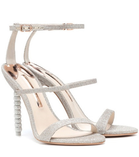 Sophia Webster Rosalind crystal-embellished glitter sandals in beige / beige