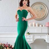 dress,janique,evening dress,prom dress,green dress,fit and flare dress