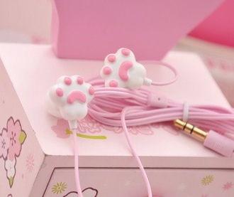 earphones baby pink pink white lovely cute sweet kitty paws kawaii