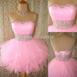 Online shop new arrival 2014 short mini pink prom gowns crystal cocktail dresses sequined beaded party ruffled short homecoming dresses