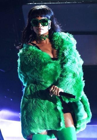 jacket fashion style rihanna green jacket fur coat fuzzy coat oversized jacket