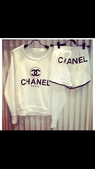 shorts shirt black. white. chanel suit. chanel kylie jenner lazy day keeping up with the kardashians jumper chanel inspired sweater white casual