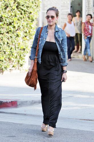 jacket black jumpsuit denim jacket brown bag sunglasses blogger