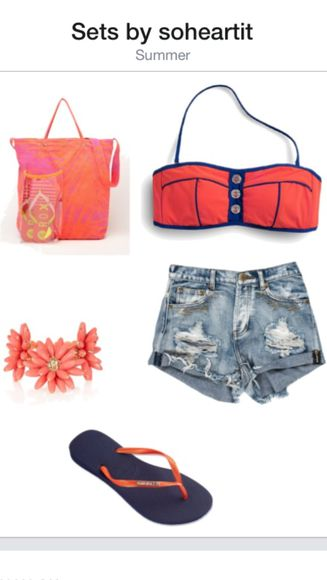 shoes cute bag tote shorts fashion pretty pink summer beach navy blue flipflops sandals bikini bandeau top ripped denim flower bracelet soheartit polyvore jewels swimwear