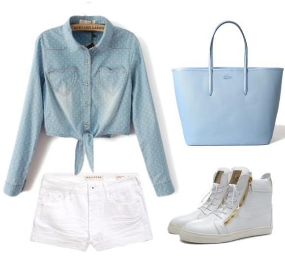 blue girl bag outfit follow student school light blue ootd collection