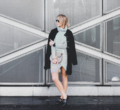 happily grey,blogger,bag,striped dress,black coat,loafers,top,skirt,shoes,jewels,black loafers