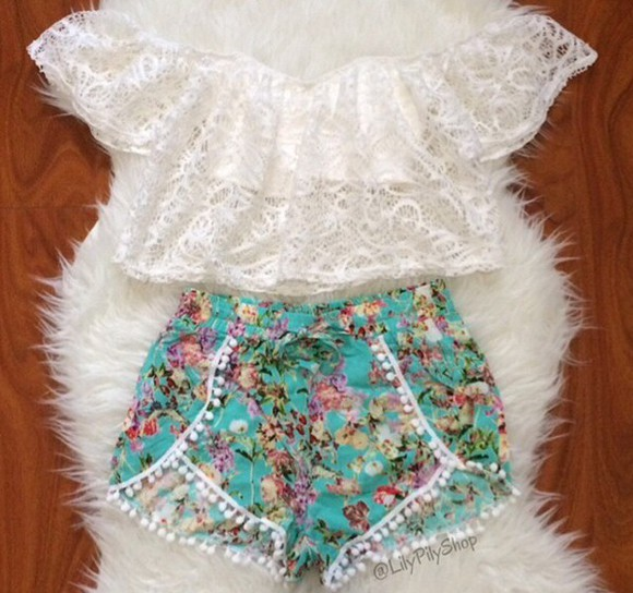 white teal top shorts
