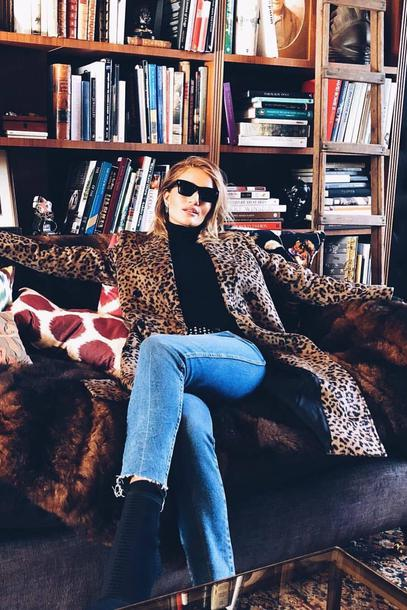 coat animal print jeans denim fall outfits rosie huntington-whiteley