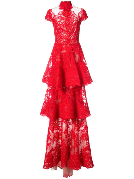 gown women lace cotton red dress