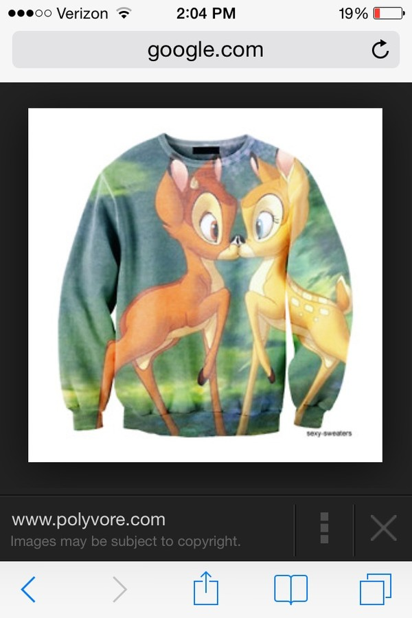 sweater bambi disney crewneck kiss cute