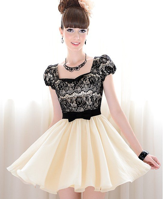 S l free shipping manufacturers supply women's black lace bow bubble short sleeved dress(moq: 1pc) #y966
