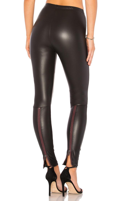 Plush Fleece Lined Liquid Legging With Contrast Zipper in black