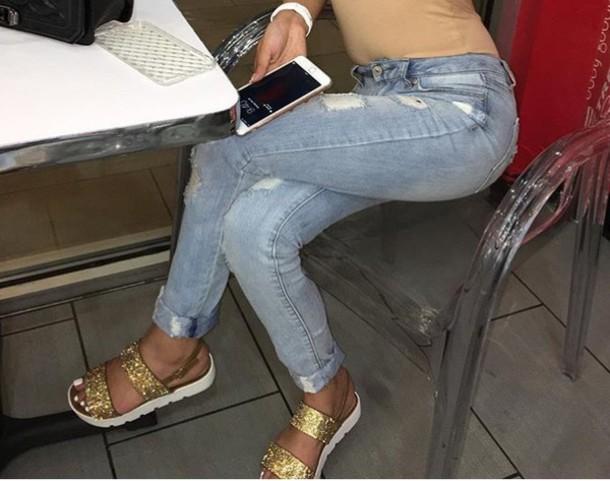 shoes glitter sandals cute cute sandals women white flat sandals gold  sandals flatform sandals Gold low