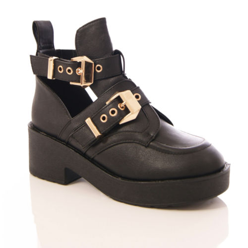 Women Cut Out Gold Buckle Block Platform Ankle Boots Shoes Size 5-10