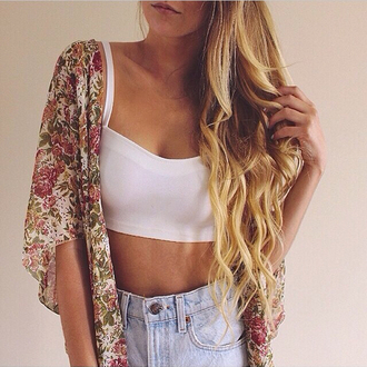 cardigan floral flower printed cardigan print hipster jacket kimono floral print pink hippie vintage lovely delicate clothes