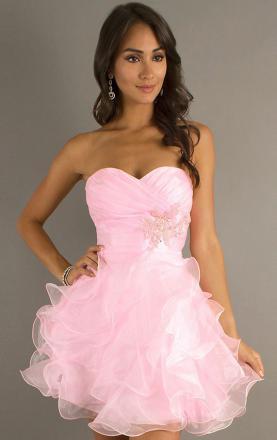 Pink Organza A-line Strapless Short/Mini Dress Online|KissyDress UK