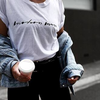 t-shirt tumblr white t-shirt quote on it pants black pants ring silver ring silver jewelry minimalist jewelry jacket denim jacket blue jacket