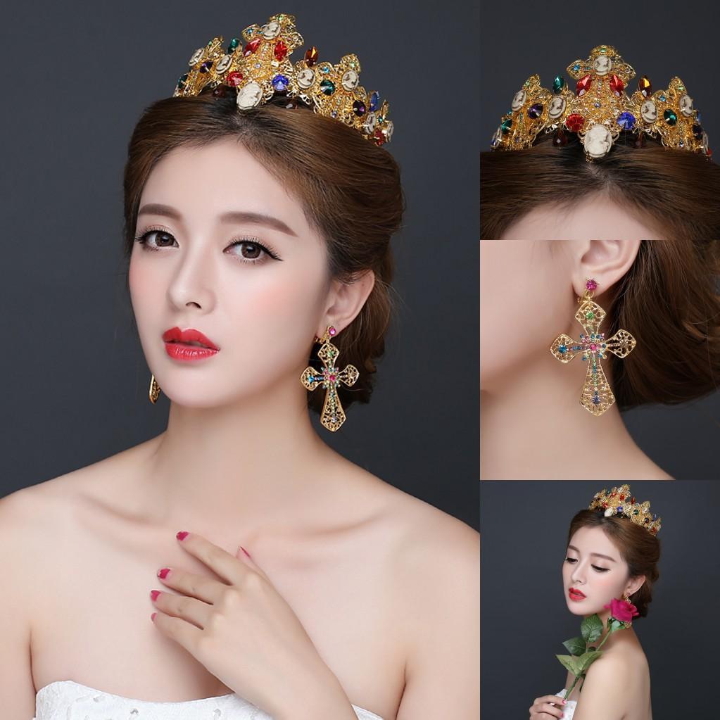 Luxurious Royal Gold Rhinestones Wedding Tiaras Crowns 2016 New Princess Bridal Headpieces Headband A Set With Earrings Cheap