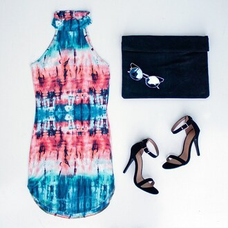 dress tie dye tie dye dress holidays tropical exotic heels outfit idea outfit set gojane fashion inspo