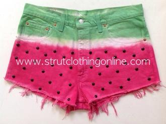 shorts strut clothing watermelon levi levi shorts denim shorts customised denim