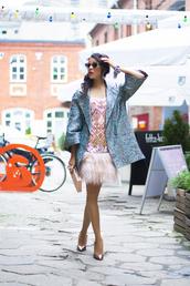 macademian girl,blogger,coat,sunglasses,pink dress,pouch,dress,shoes,bag,jewels