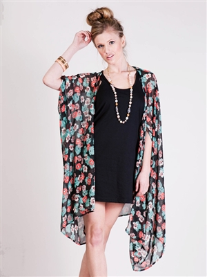 Print Oversized Kimono Cardigan - TH3714A - Black | Shop Audrey 3 ...