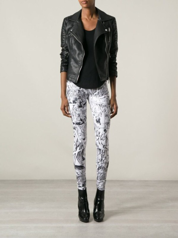 white leggings black leather jacket top heels shoes mcqueen