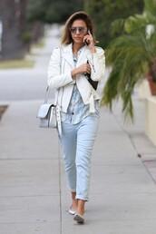 shirt,flats,jeans,jacket,jessica alba,shoes