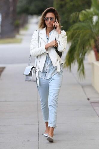shirt flats jeans jacket jessica alba shoes