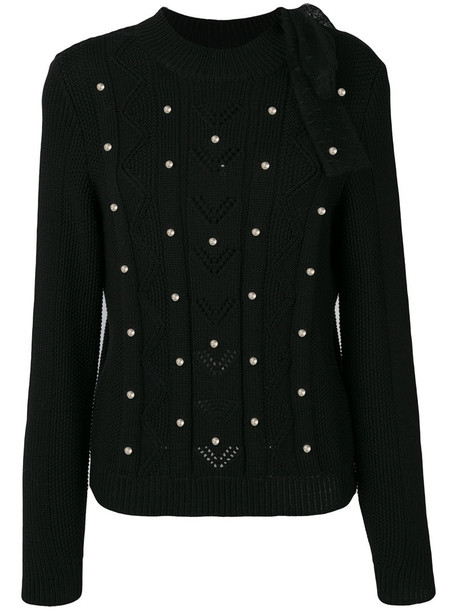 Red Valentino - pearl-effect sweater - women - Polyamide/Virgin Wool - S, Black, Polyamide/Virgin Wool
